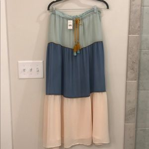 NWT Peasant tiered maxi skirt green, blue, pink.
